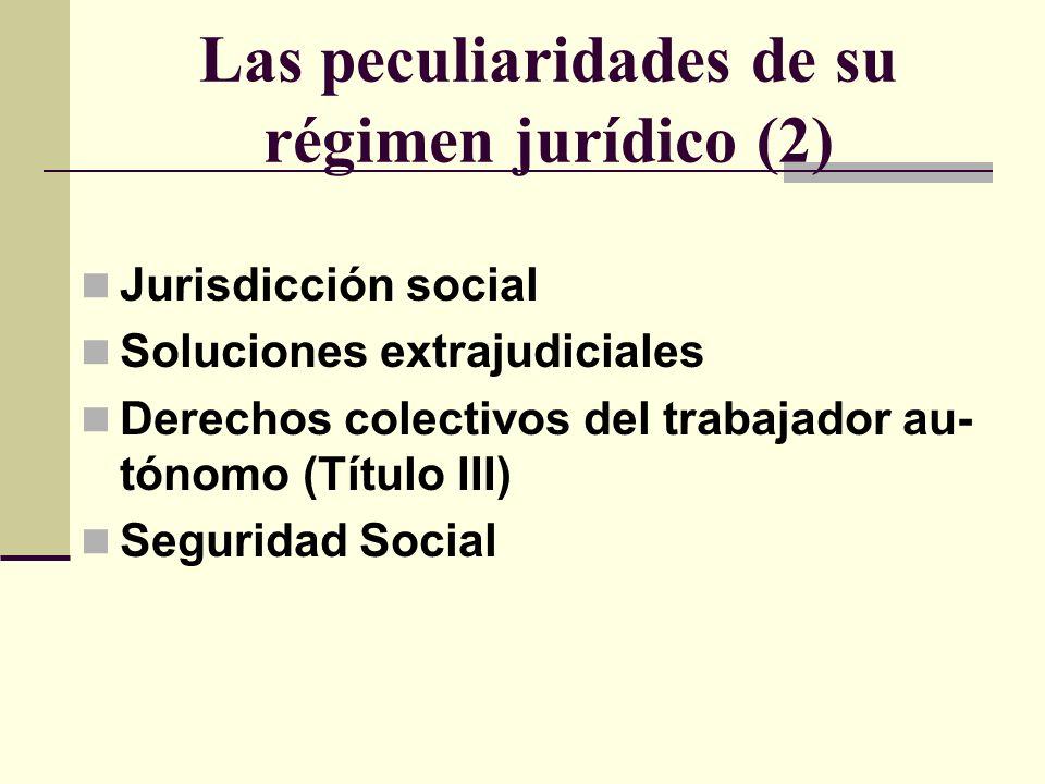 Las peculiaridades de su régimen jurídico (2) Jurisdicción social Soluciones extrajudiciales Derechos colectivos del trabajador au- tónomo (Título III