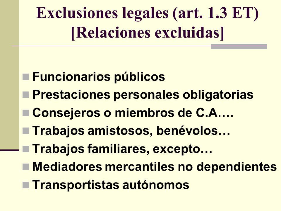 Exclusiones legales (art. 1.3 ET) [Relaciones excluidas] Funcionarios públicos Prestaciones personales obligatorias Consejeros o miembros de C.A…. Tra