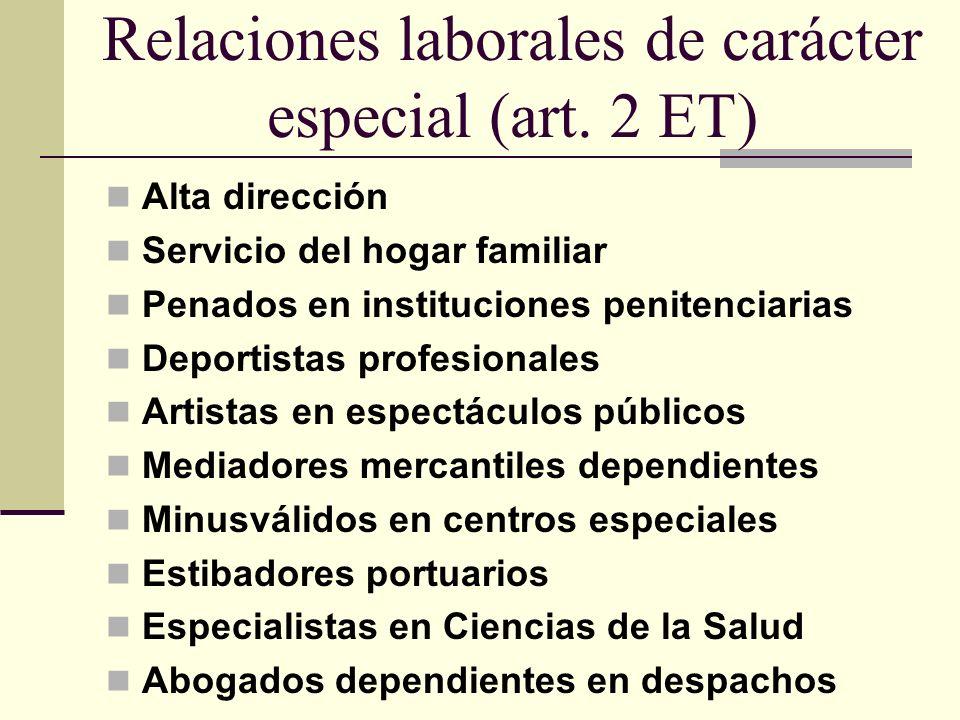 Relaciones laborales de carácter especial (art. 2 ET) Alta dirección Servicio del hogar familiar Penados en instituciones penitenciarias Deportistas p