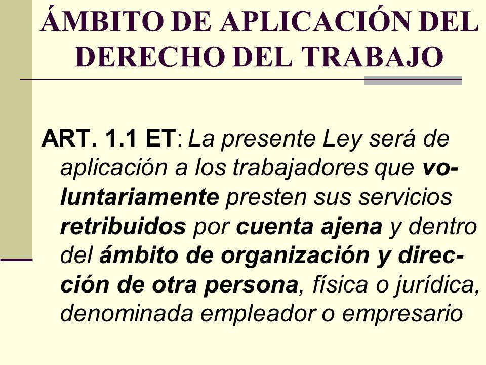 ÁMBITO DE APLICACIÓN DEL DERECHO DEL TRABAJO ART. 1.1 ET: La presente Ley será de aplicación a los trabajadores que vo- luntariamente presten sus serv