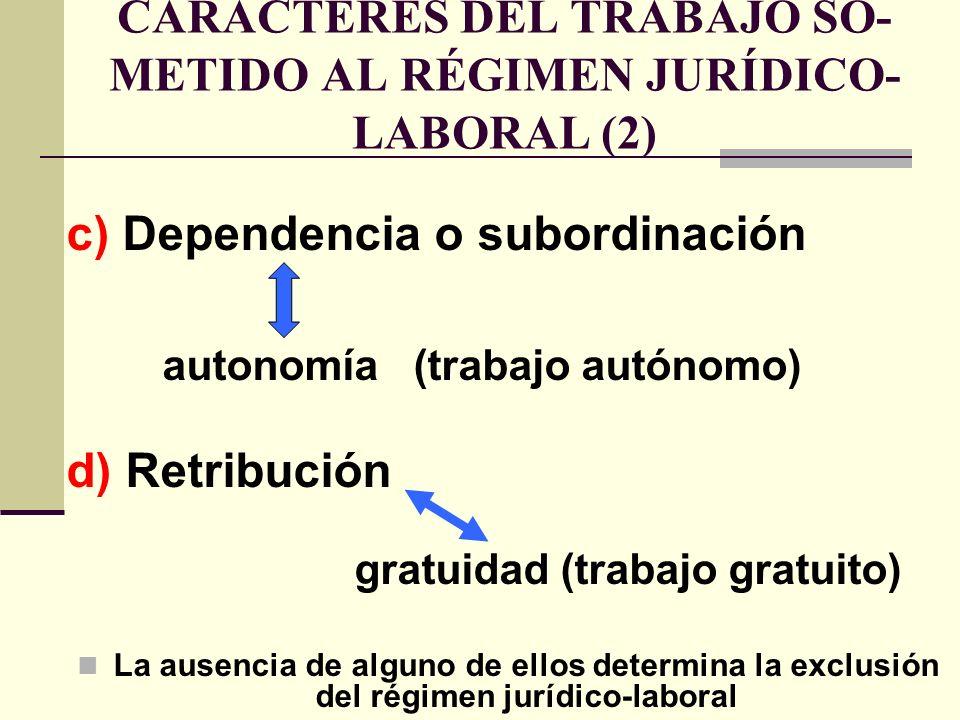 CARACTERES DEL TRABAJO SO- METIDO AL RÉGIMEN JURÍDICO- LABORAL (2) c) Dependencia o subordinación autonomía (trabajo autónomo) d) Retribución gratuida