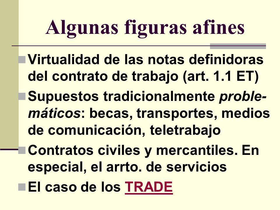 Algunas figuras afines Virtualidad de las notas definidoras del contrato de trabajo (art. 1.1 ET) Supuestos tradicionalmente proble- máticos: becas, t