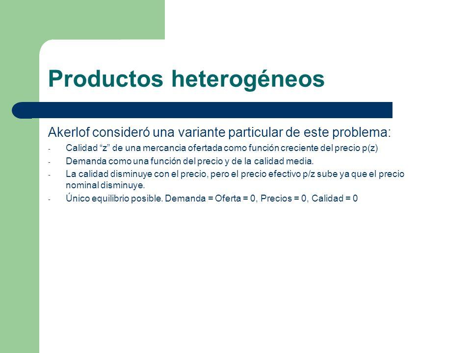 Productos heterogéneos Akerlof consideró una variante particular de este problema: - Calidad z de una mercancia ofertada como función creciente del pr