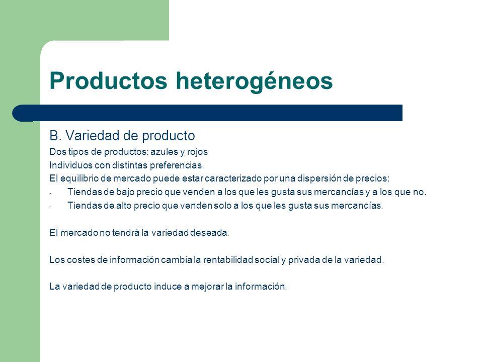 Productos heterogéneos B. Variedad de producto Dos tipos de productos: azules y rojos Individuos con distintas preferencias. El equilibrio de mercado