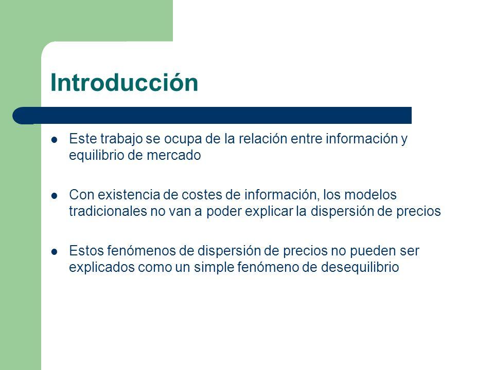 Introducción Este trabajo se ocupa de la relación entre información y equilibrio de mercado Con existencia de costes de información, los modelos tradi