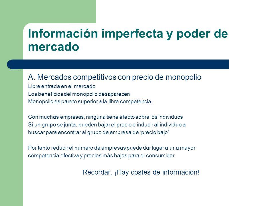 Información imperfecta y poder de mercado A. Mercados competitivos con precio de monopolio Libre entrada en el mercado Los beneficios del monopolio de