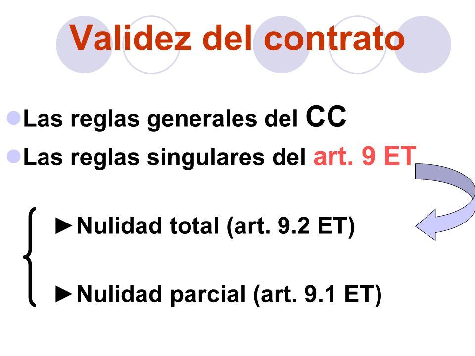 Validez del contrato Las reglas generales del CC Las reglas singulares del art. 9 ET Nulidad total (art. 9.2 ET) Nulidad parcial (art. 9.1 ET)