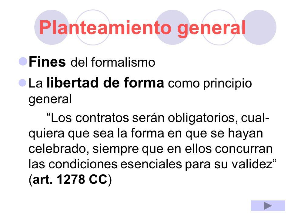 Planteamiento general Fines del formalismo La libertad de forma como principio general Los contratos serán obligatorios, cual- quiera que sea la forma