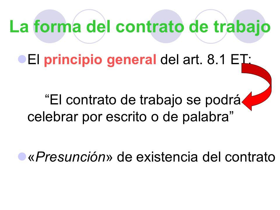 La forma del contrato de trabajo El principio general del art. 8.1 ET: El contrato de trabajo se podrá celebrar por escrito o de palabra «Presunción»