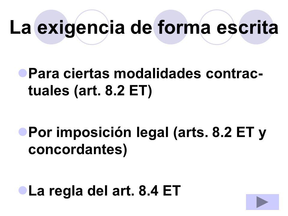 La exigencia de forma escrita Para ciertas modalidades contrac- tuales (art. 8.2 ET) Por imposición legal (arts. 8.2 ET y concordantes) La regla del a