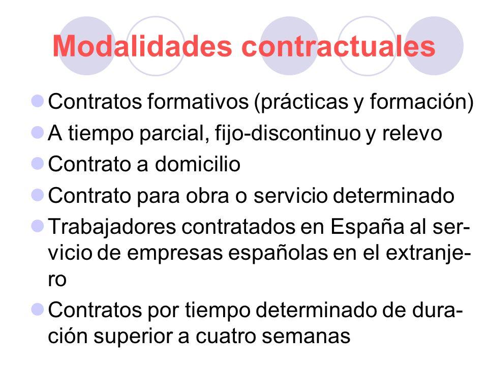 Modalidades contractuales Contratos formativos (prácticas y formación) A tiempo parcial, fijo-discontinuo y relevo Contrato a domicilio Contrato para