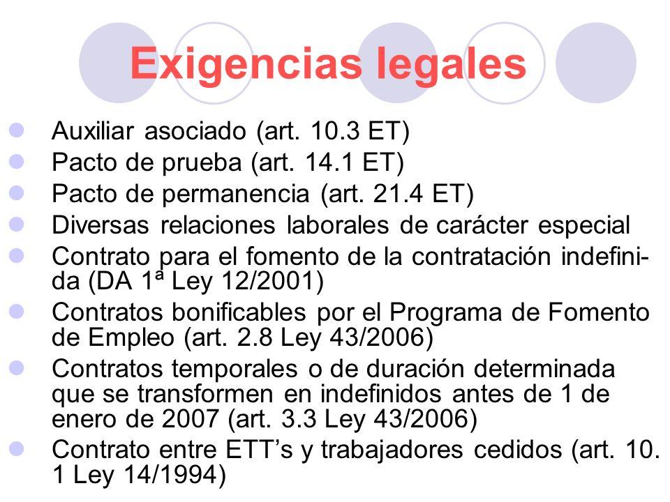 Exigencias legales Auxiliar asociado (art. 10.3 ET) Pacto de prueba (art. 14.1 ET) Pacto de permanencia (art. 21.4 ET) Diversas relaciones laborales d