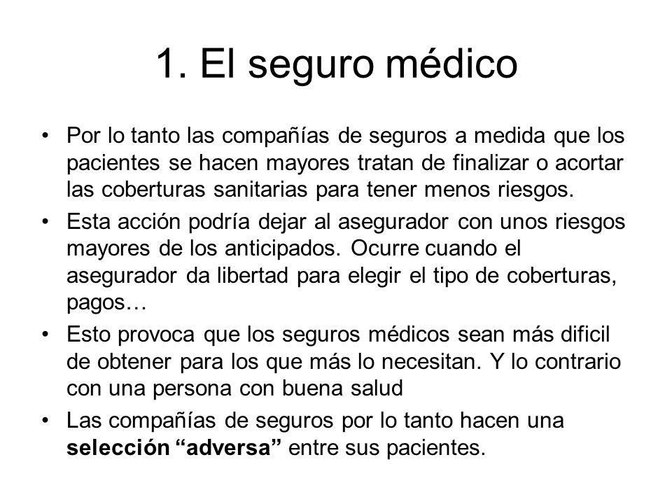 1. El seguro médico Por lo tanto las compañías de seguros a medida que los pacientes se hacen mayores tratan de finalizar o acortar las coberturas san