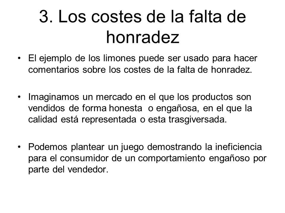 3. Los costes de la falta de honradez El ejemplo de los limones puede ser usado para hacer comentarios sobre los costes de la falta de honradez. Imagi
