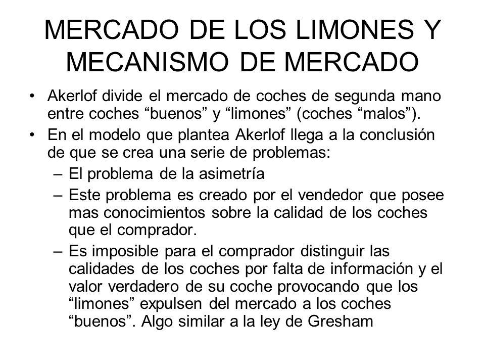 MERCADO DE LOS LIMONES Y MECANISMO DE MERCADO Akerlof divide el mercado de coches de segunda mano entre coches buenos y limones (coches malos). En el