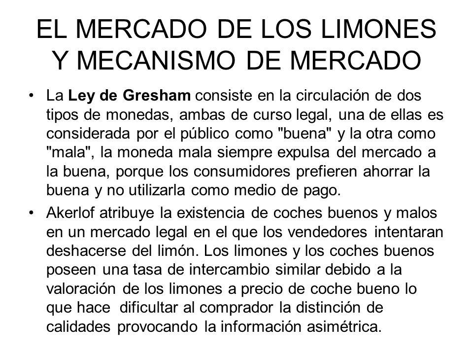 EL MERCADO DE LOS LIMONES Y MECANISMO DE MERCADO La Ley de Gresham consiste en la circulación de dos tipos de monedas, ambas de curso legal, una de el