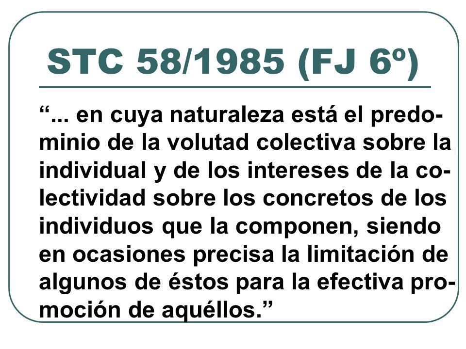 STC 58/1985 (FJ 6º)...la satisfacción de una serie de inte- reses individuales se obtiene (...) a través de la negociación colectiva, la cual no sólo no es incompatible con ámbitos de libertad personal, sino que los asegura, actuando como garantía básica de situaciones jurídicas indivi- dualizadas...