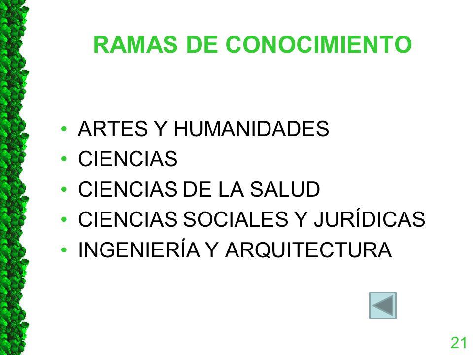 RAMAS DE CONOCIMIENTO ARTES Y HUMANIDADES CIENCIAS CIENCIAS DE LA SALUD CIENCIAS SOCIALES Y JURÍDICAS INGENIERÍA Y ARQUITECTURA 21