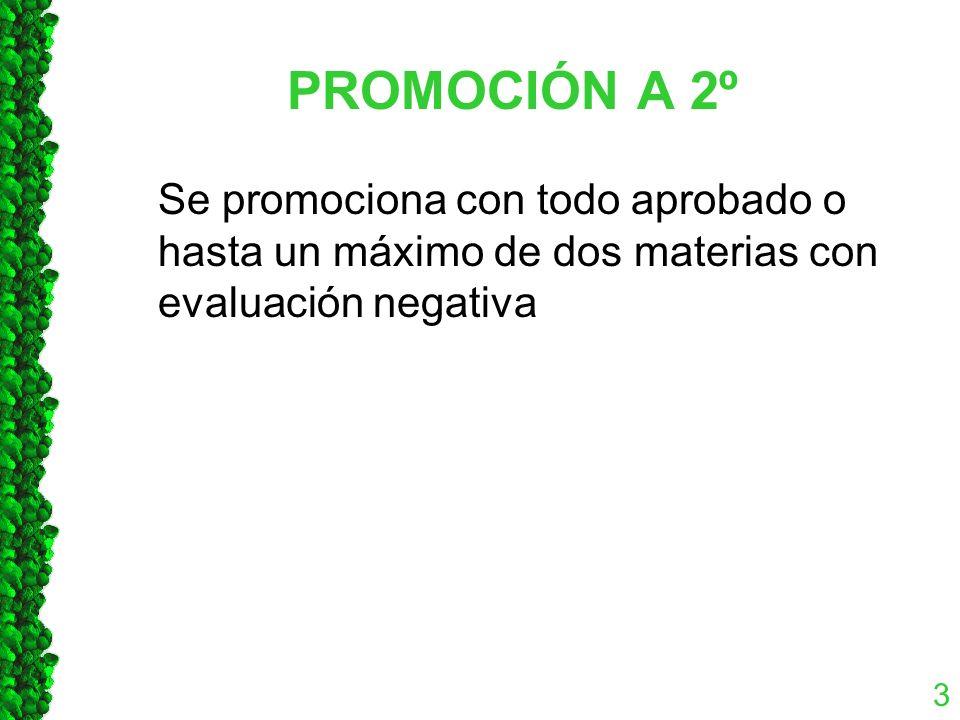 PROMOCIÓN A 2º Se promociona con todo aprobado o hasta un máximo de dos materias con evaluación negativa 3
