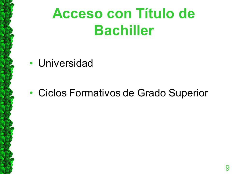 Acceso con Título de Bachiller Universidad Ciclos Formativos de Grado Superior 9