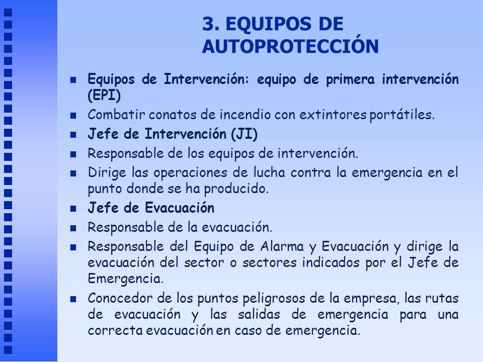 3. EQUIPOS DE AUTOPROTECCIÓN n Equipos de Intervención: equipo de primera intervención (EPI) n Combatir conatos de incendio con extintores portátiles.