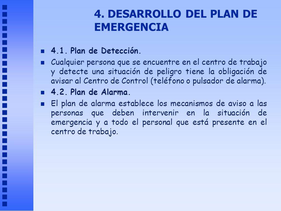 4. DESARROLLO DEL PLAN DE EMERGENCIA n 4.1. Plan de Detección. n Cualquier persona que se encuentre en el centro de trabajo y detecte una situación de