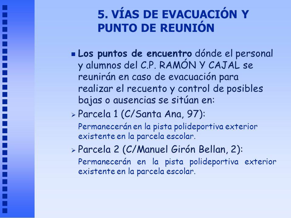 5. VÍAS DE EVACUACIÓN Y PUNTO DE REUNIÓN n Los puntos de encuentro dónde el personal y alumnos del C.P. RAMÓN Y CAJAL se reunirán en caso de evacuació