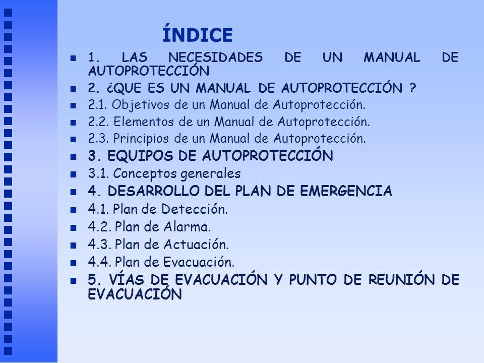 ÍNDICE n 1. LAS NECESIDADES DE UN MANUAL DE AUTOPROTECCIÓN n 2. ¿QUE ES UN MANUAL DE AUTOPROTECCIÓN ? n 2.1. Objetivos de un Manual de Autoprotección.