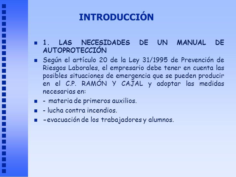 INTRODUCCIÓN n 1. LAS NECESIDADES DE UN MANUAL DE AUTOPROTECCIÓN n Según el artículo 20 de la Ley 31/1995 de Prevención de Riesgos Laborales, el empre