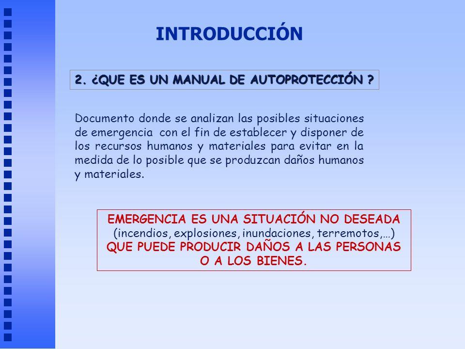 INTRODUCCIÓN 2. ¿QUE ES UN MANUAL DE AUTOPROTECCIÓN ? Documento donde se analizan las posibles situaciones de emergencia con el fin de establecer y di
