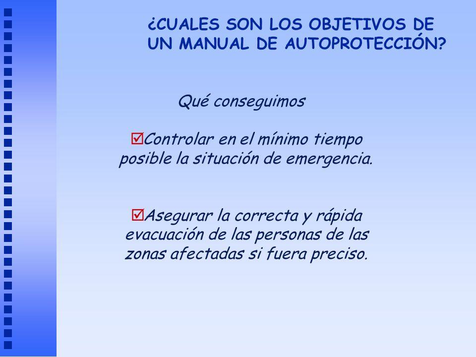 Controlar en el mínimo tiempo posible la situación de emergencia. Asegurar la correcta y rápida evacuación de las personas de las zonas afectadas si f