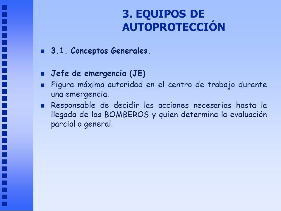 3. EQUIPOS DE AUTOPROTECCIÓN n 3.1. Conceptos Generales. n Jefe de emergencia (JE) n Figura máxima autoridad en el centro de trabajo durante una emerg