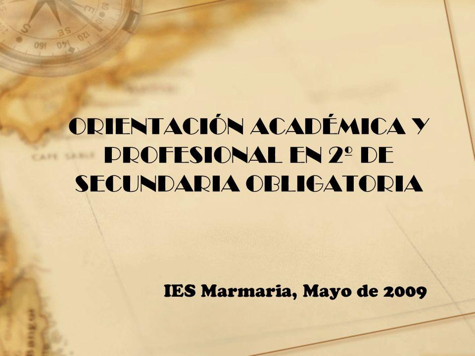 ORIENTACIÓN ACADÉMICA Y PROFESIONAL EN 2º DE SECUNDARIA OBLIGATORIA IES Marmaria, Mayo de 2009