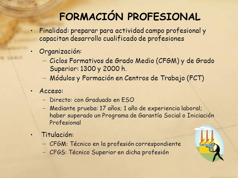 FORMACIÓN PROFESIONAL Finalidad: preparar para actividad campo profesional y capacitan desarrollo cualificado de profesiones Organización: Ciclos Form