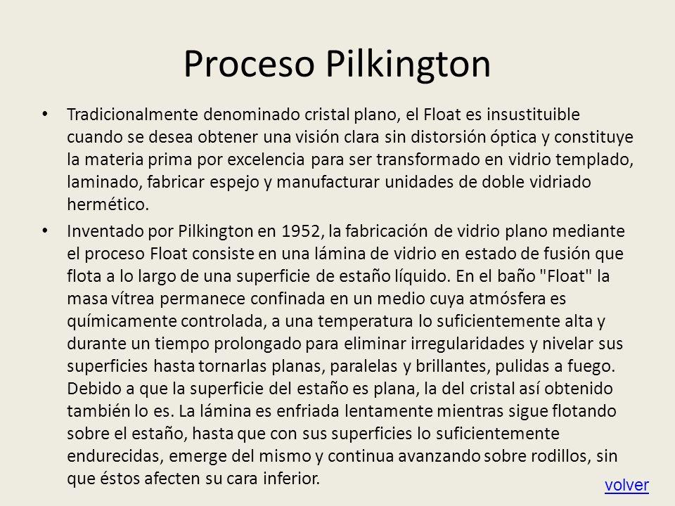 Proceso Pilkington Tradicionalmente denominado cristal plano, el Float es insustituible cuando se desea obtener una visión clara sin distorsión óptica