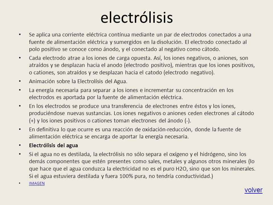 electrólisis Se aplica una corriente eléctrica contínua mediante un par de electrodos conectados a una fuente de alimentación eléctrica y sumergidos e