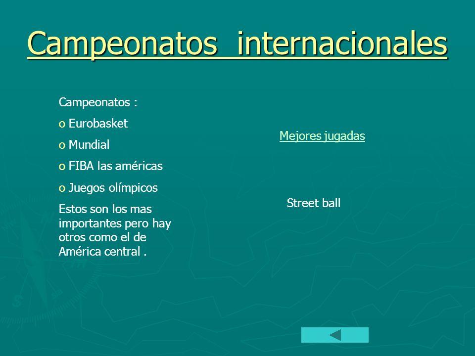 Campeonatos internacionales Campeonatos : o Eurobasket o Mundial o FIBA las américas o Juegos olímpicos Estos son los mas importantes pero hay otros c