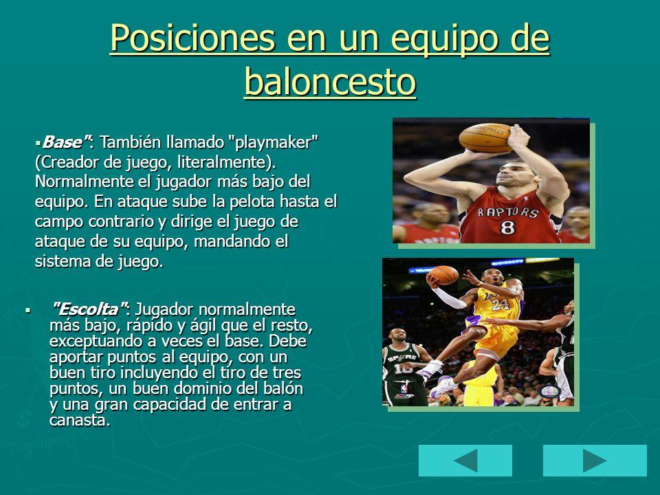 Posiciones en un equipo de baloncesto Alero : Es generalmente una altura intermedia entre los jugadores interiores y los exteriores.
