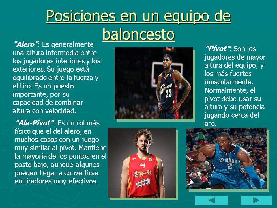 Posiciones en un equipo de baloncesto