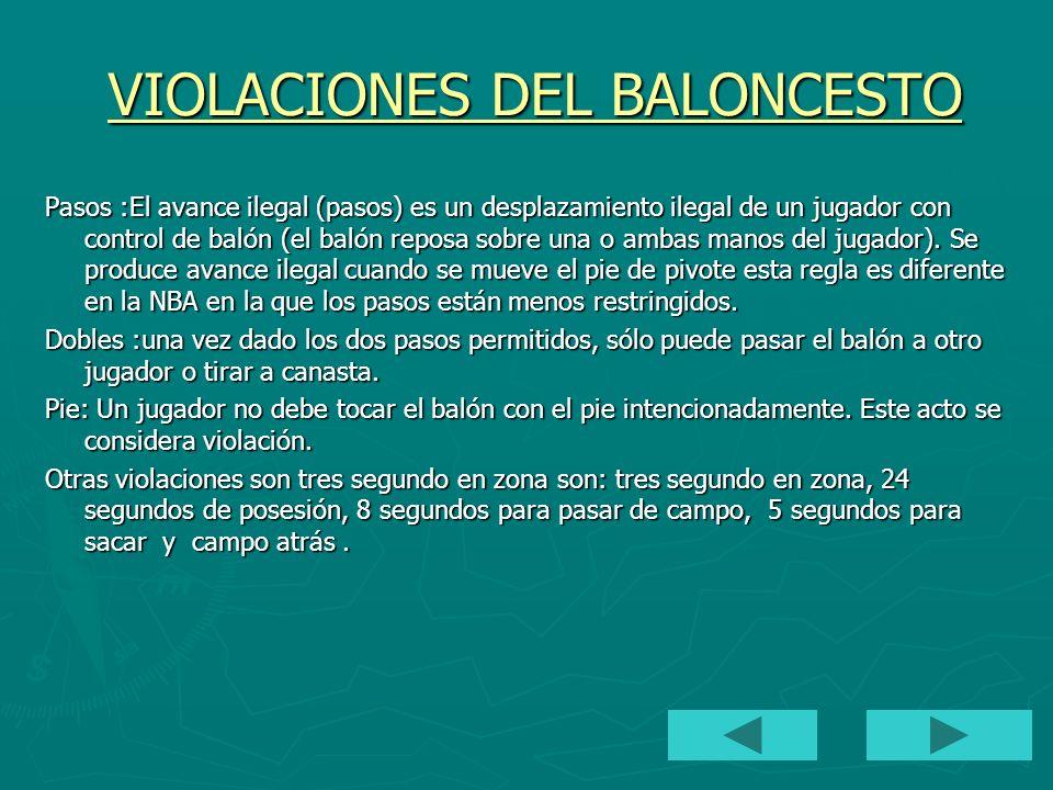 VIOLACIONES DEL BALONCESTO VIOLACIONES DEL BALONCESTO Pasos :El avance ilegal (pasos) es un desplazamiento ilegal de un jugador con control de balón (