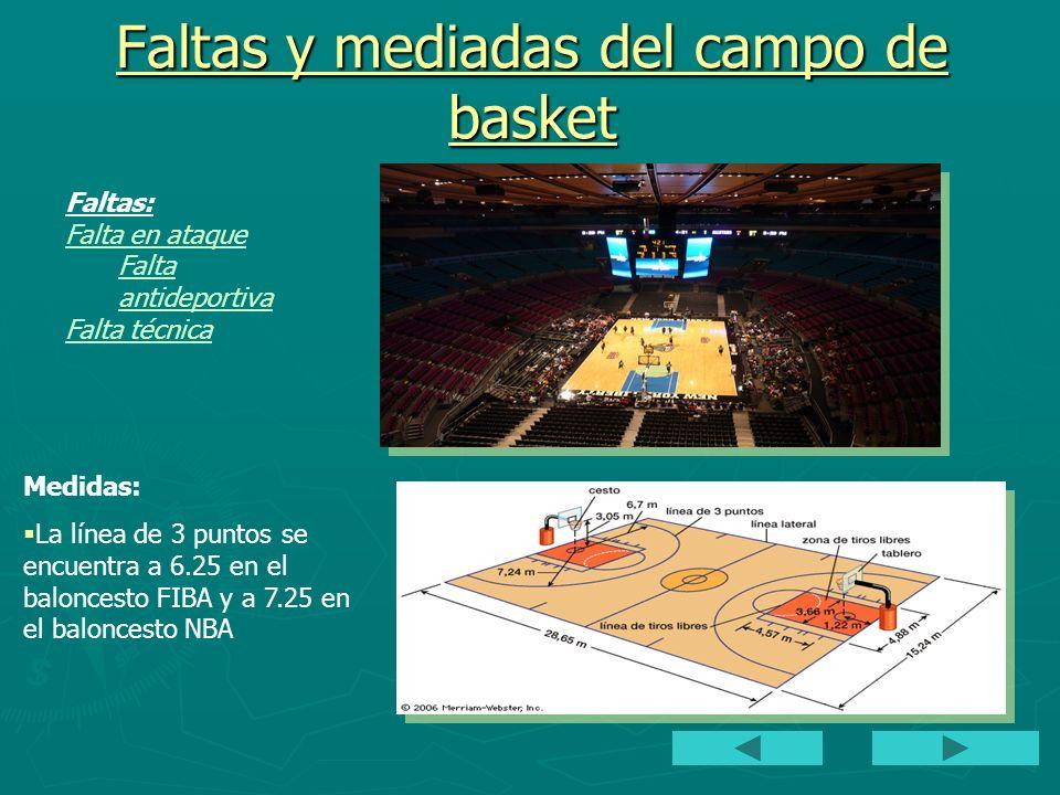 Faltas y mediadas del campo de basket Faltas: Falta en ataque Falta antideportiva Falta técnica Medidas: La línea de 3 puntos se encuentra a 6.25 en e