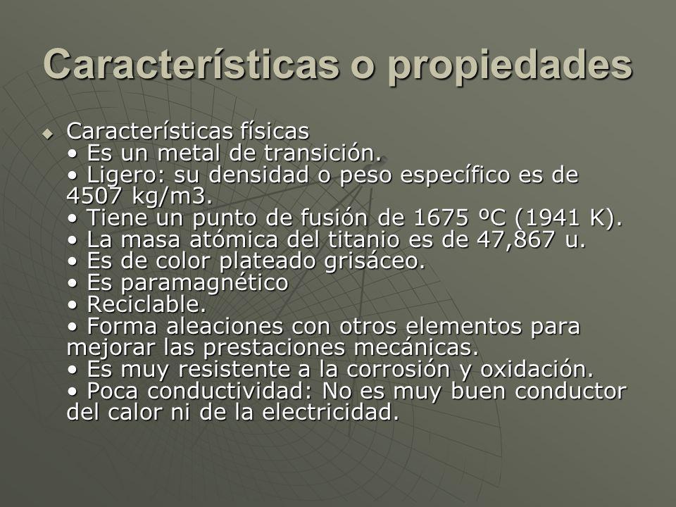 Características o propiedades Características físicas Es un metal de transición.