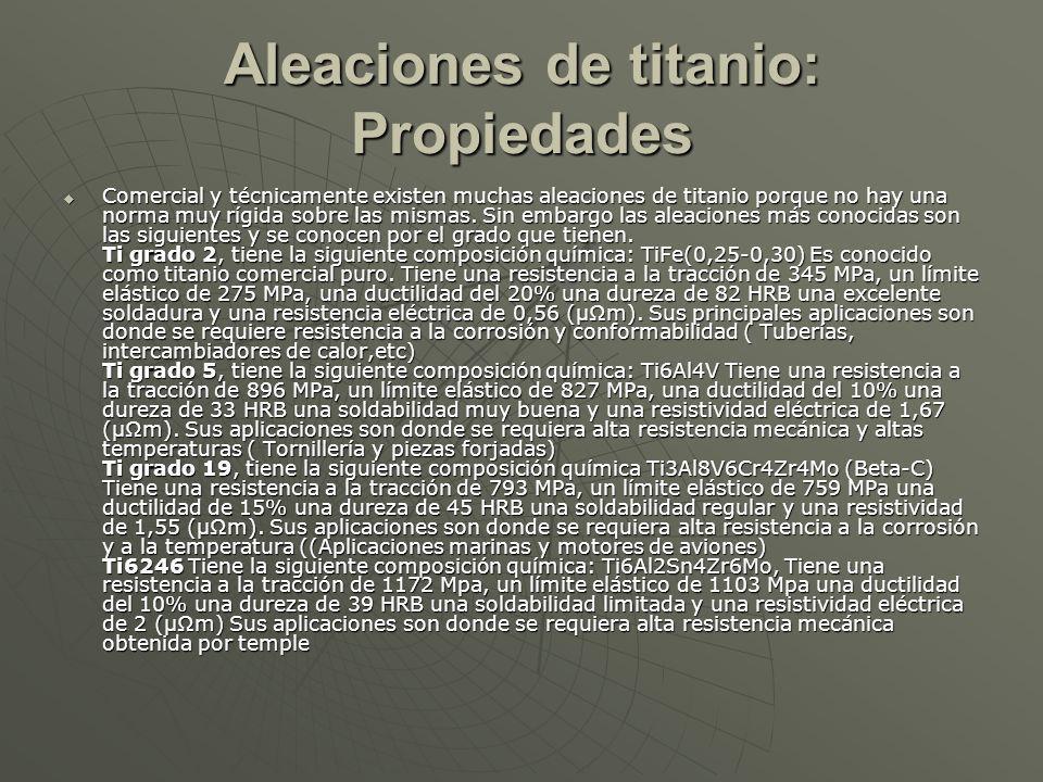 Aleaciones de titanio: Propiedades Comercial y técnicamente existen muchas aleaciones de titanio porque no hay una norma muy rígida sobre las mismas.