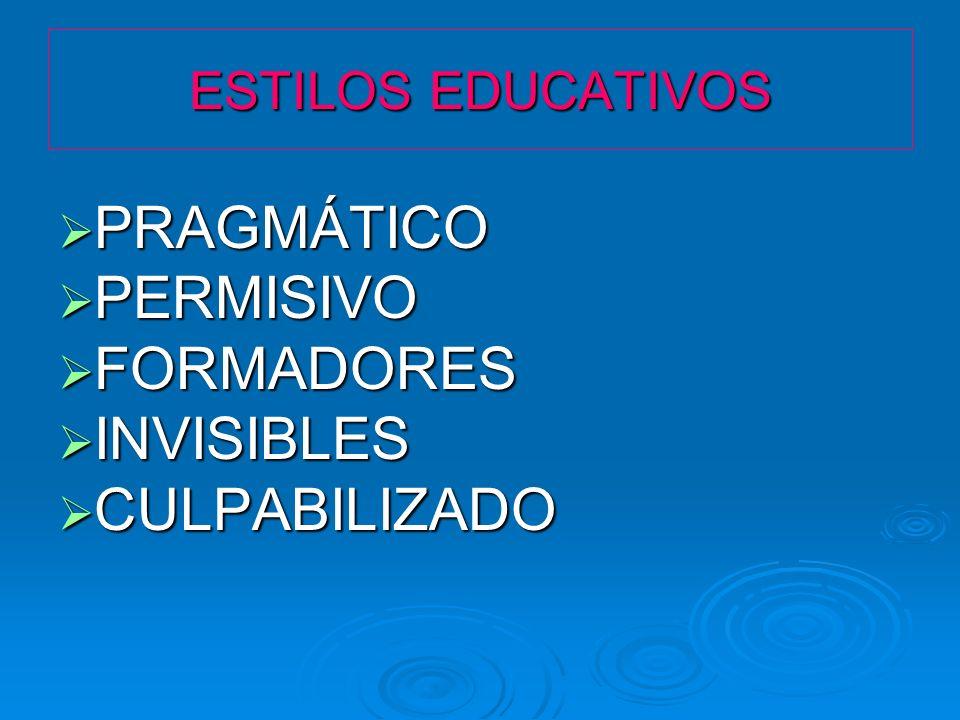 ESTILOS EDUCATIVOS PRAGMÁTICO PRAGMÁTICO PERMISIVO PERMISIVO FORMADORES FORMADORES INVISIBLES INVISIBLES CULPABILIZADO CULPABILIZADO