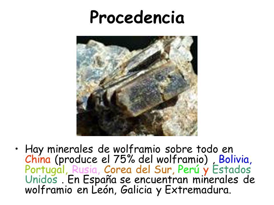 Procedencia Hay minerales de wolframio sobre todo en China (produce el 75% del wolframio), Bolivia, Portugal, Rusia, Corea del Sur, Perú y Estados Uni