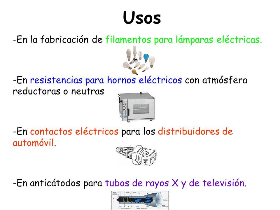 Usos -En la fabricación de filamentos para lámparas eléctricas. -En resistencias para hornos eléctricos con atmósfera reductoras o neutras -En contact