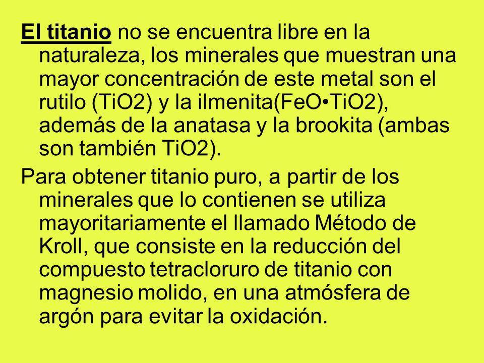 El titanio no se encuentra libre en la naturaleza, los minerales que muestran una mayor concentración de este metal son el rutilo (TiO2) y la ilmenita