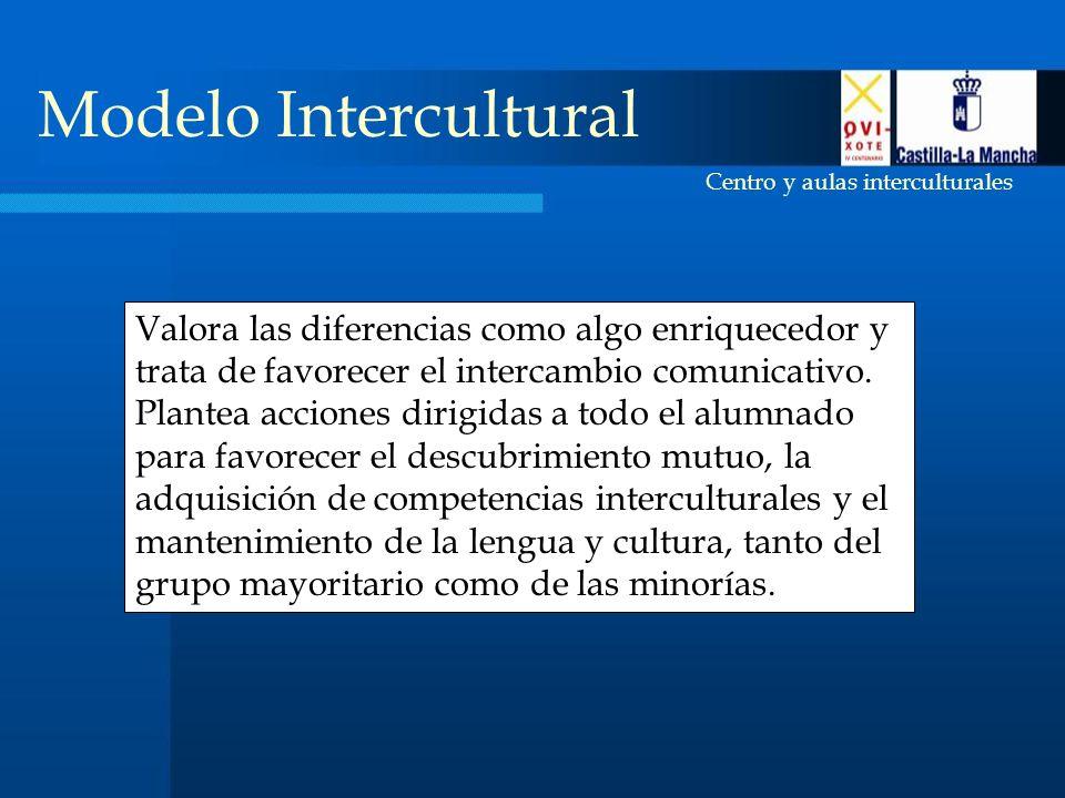 Centro y aulas interculturales Modelo Intercultural Valora las diferencias como algo enriquecedor y trata de favorecer el intercambio comunicativo.