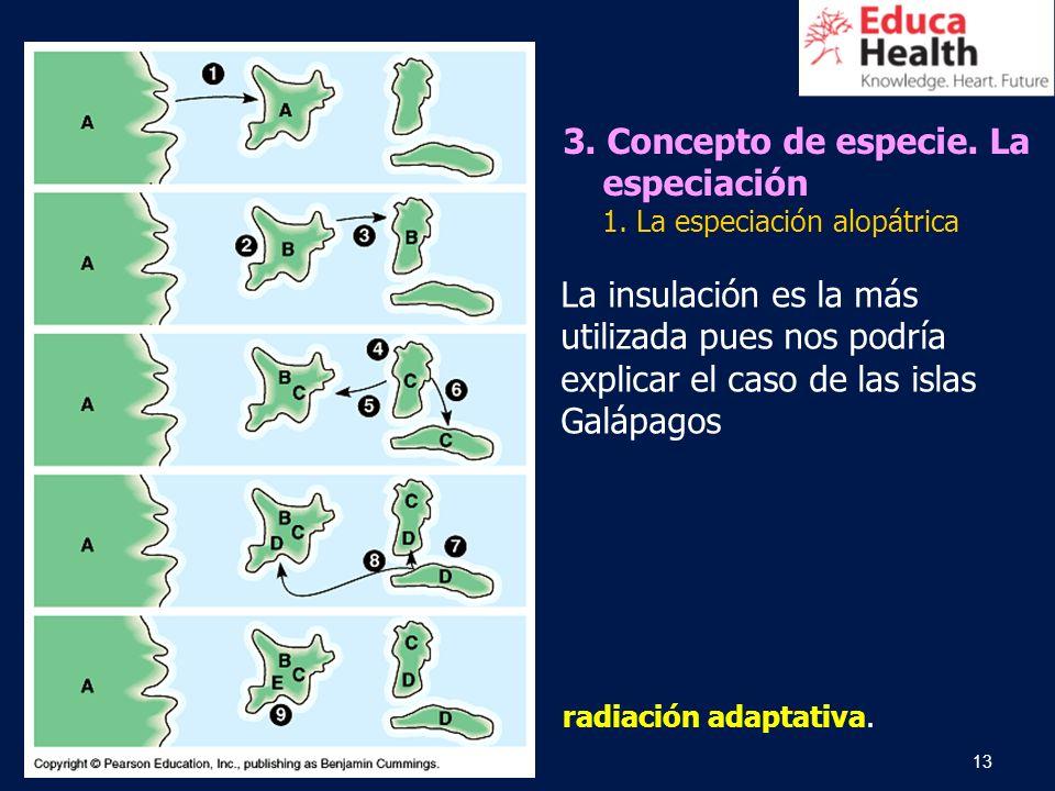 13 radiación adaptativa. La insulación es la más utilizada pues nos podría explicar el caso de las islas Galápagos 3. Concepto de especie. La especiac