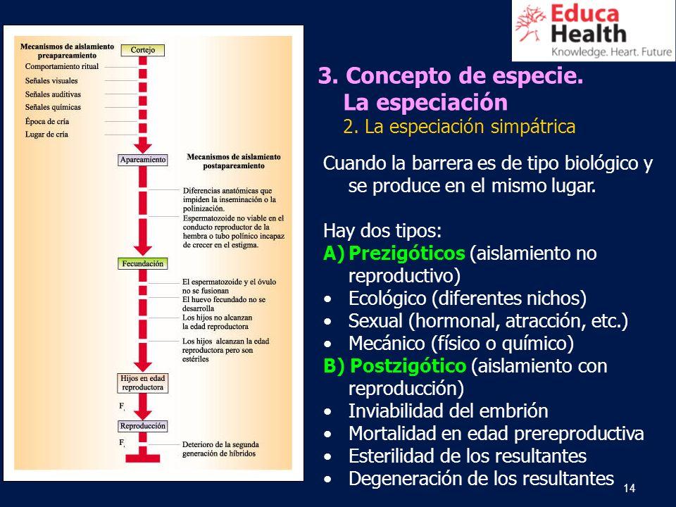 14 3. Concepto de especie. La especiación 2. La especiación simpátrica Cuando la barrera es de tipo biológico y se produce en el mismo lugar. Hay dos